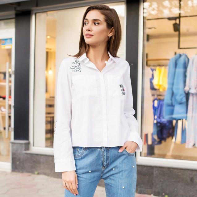 Белая рубашка короткая 44108