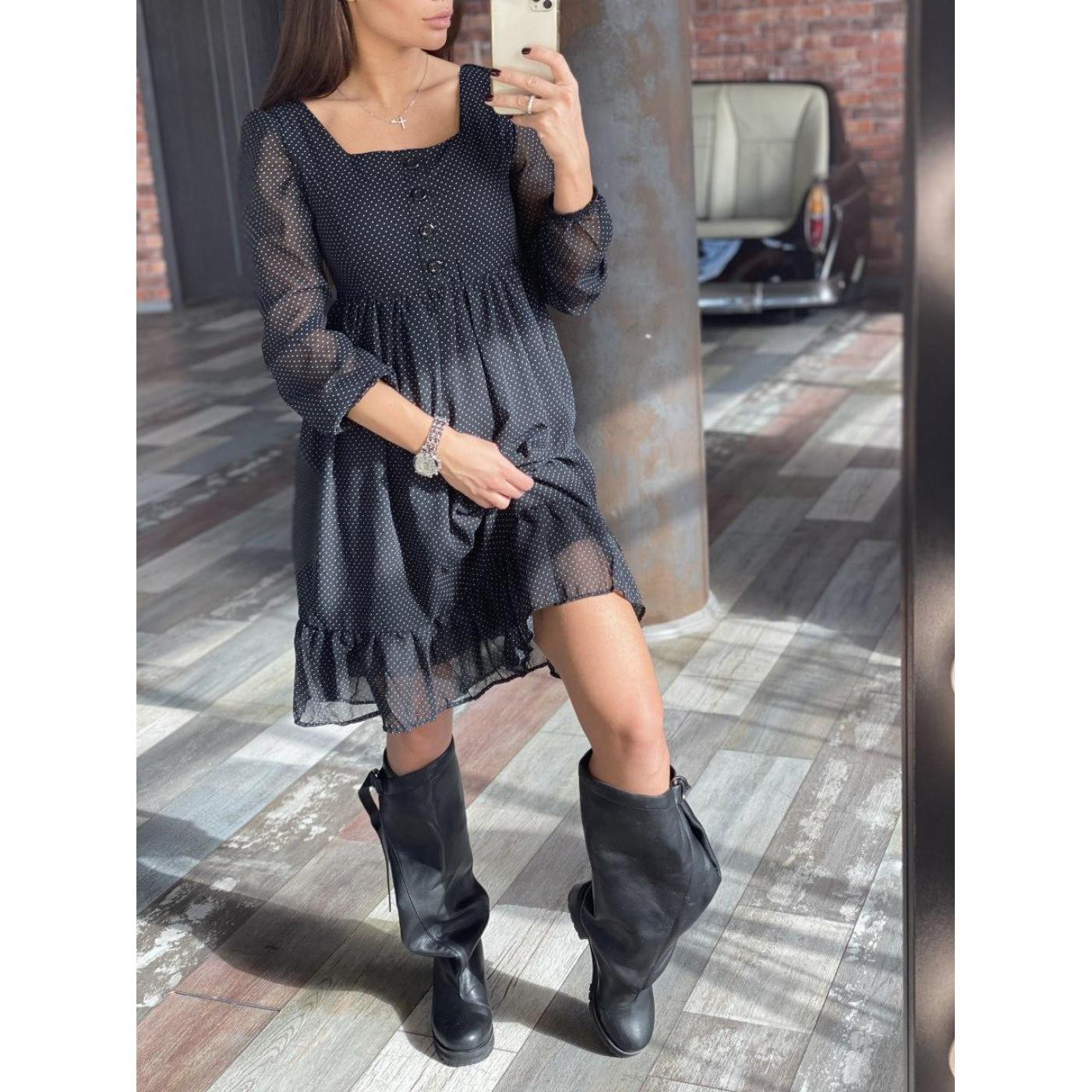 Плаття в горошок з воланом 3051