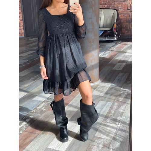Платье в горошек с оборкой 3051