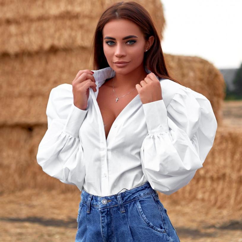 Блуза з рукавами-воланами 11521