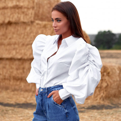 Блуза с рукавами-воланами 11521
