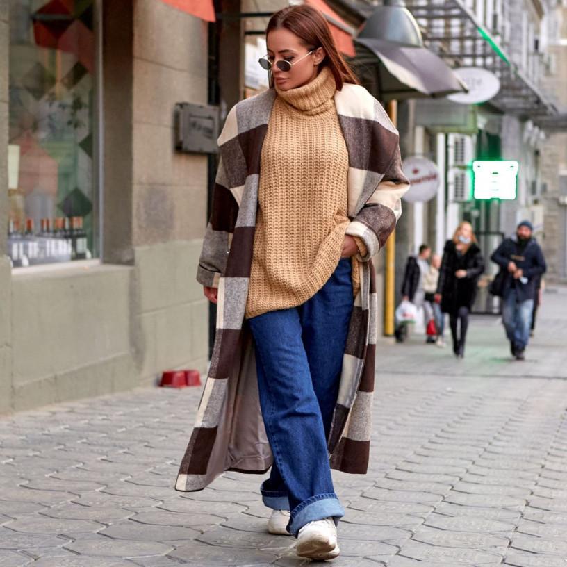 Кашемірове пальто в клітку 11660