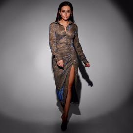 Платье-рубашка с разрезом 11699