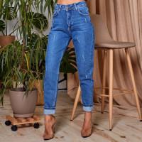 Завышенные джинсы с потертостями 1558