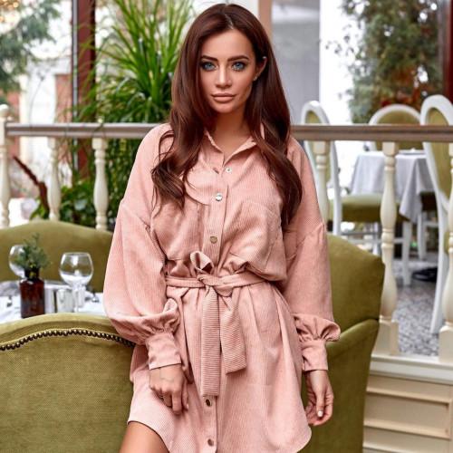 Вельветовое платье на кнопках 11468
