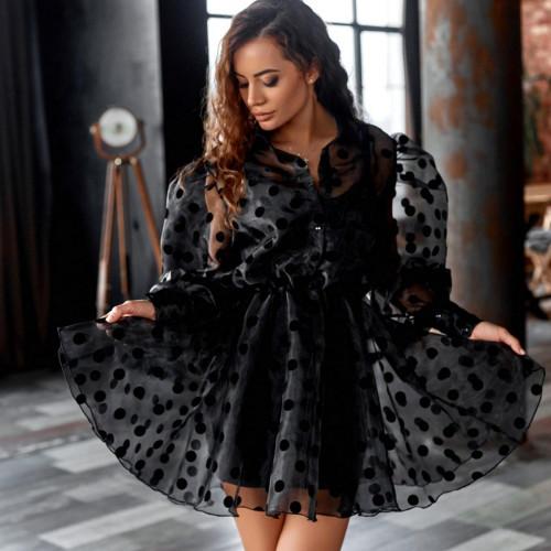 Платье с объемными рукавами в горох 11485