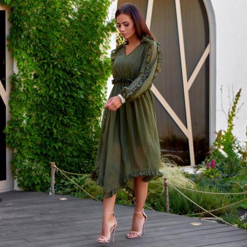 Длинное шифоновое платье с рюшами 11267