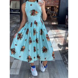 Льняное платье в стиле беби долл 11096