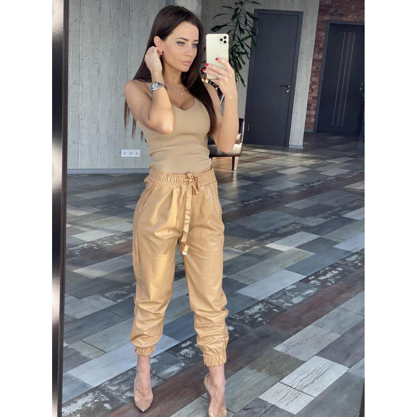 Шкіряні штани з манжетами 24327