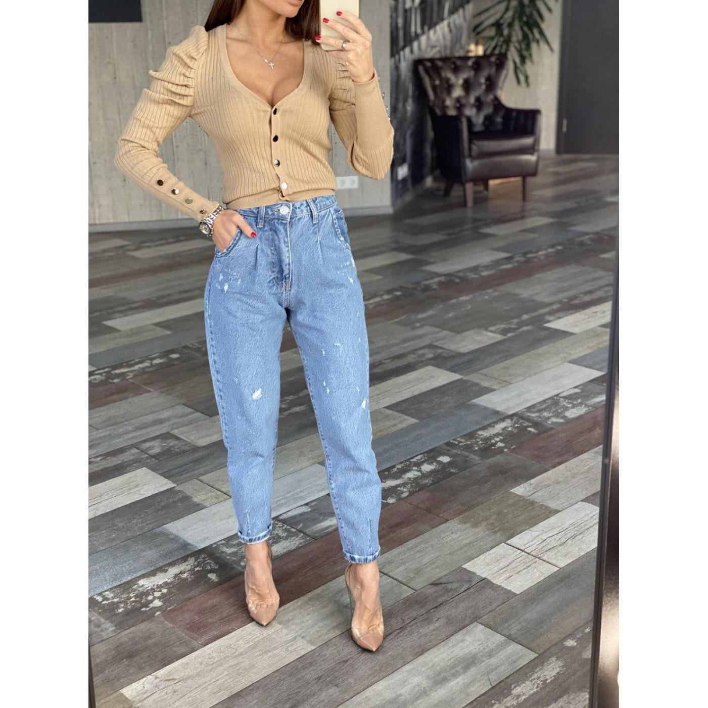 Світлі джинси з потертостями 1621-0