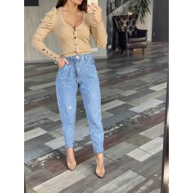 Светлые джинсы с потертостями 1621-0