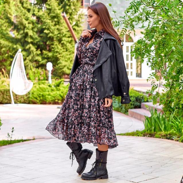 Платье с рюшей рубашечного кроя 11528