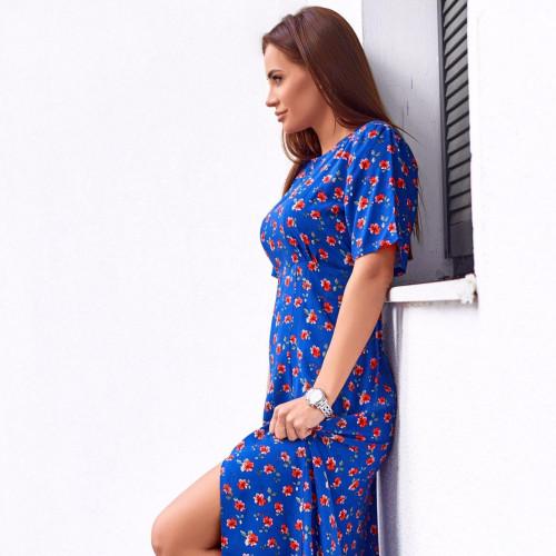 Удлиненное летнее платье с разрезом 11508