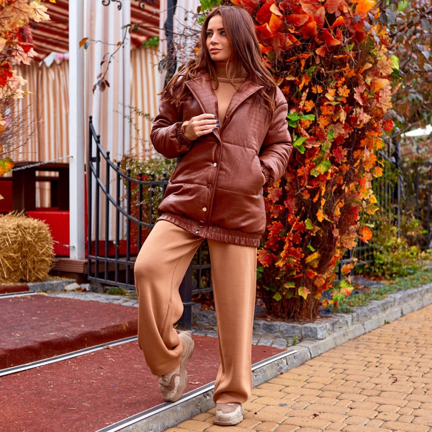 """Кожаная теплая куртка """"рептилия"""" 11672-1"""