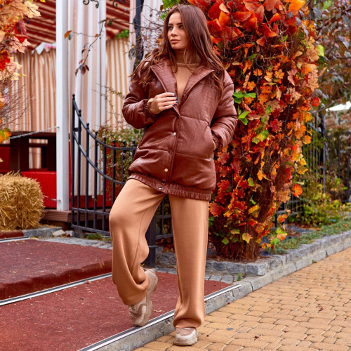 """Кожаная теплая куртка """"рептилия"""" 11672"""