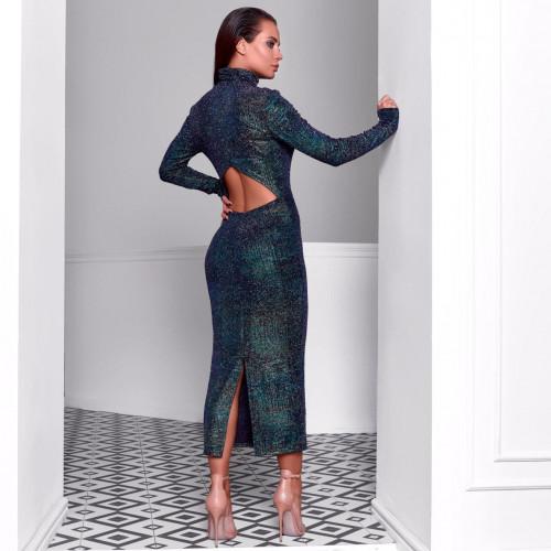 Платье с высокой горловиной и вырезом на спине 11682