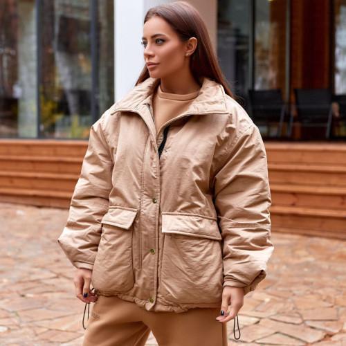 Объемная куртка с накладными карманами 11480