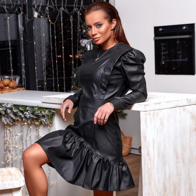 Кожаное платье с оборкой 11500