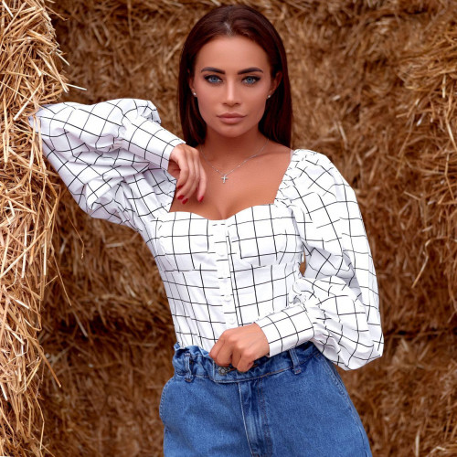 Блуза с рукавами-воланами 11638