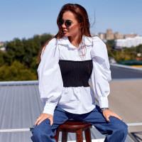 Рубашка с вязанным корсетом 19-1123