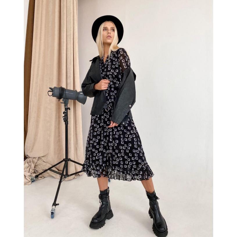 Шифоновое платье с оборкой внизу 11515