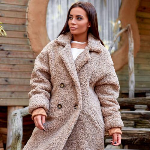 Теплое пальто с поясом 11642