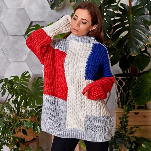 Шерстяний светр з різнокольоровими квадратами 91 559