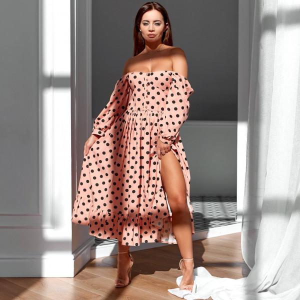 Элегантное летнее платье с разрезом 11759-1
