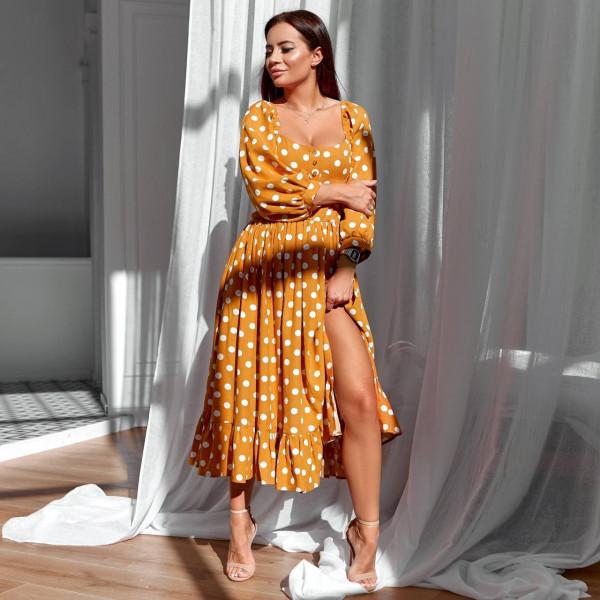 Элегантное летнее платье с разрезом 11759-2