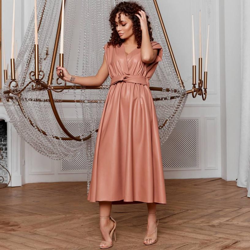 Елегантне шкіряне плаття 8241-1