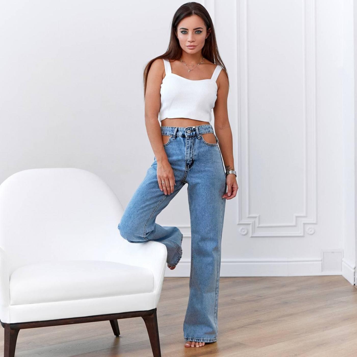 Модные джинсы с вырезами на талии 83491-1