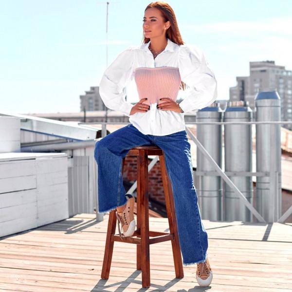 Рубашка с вязанным корсетом 19-1123-3