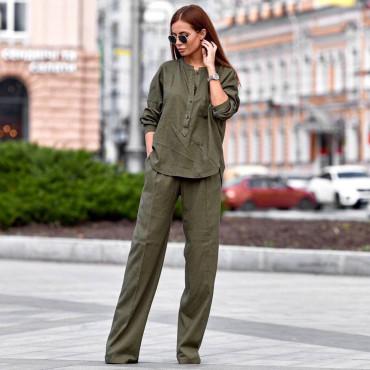 Льняной костюм со штанами-клеш 11105-5