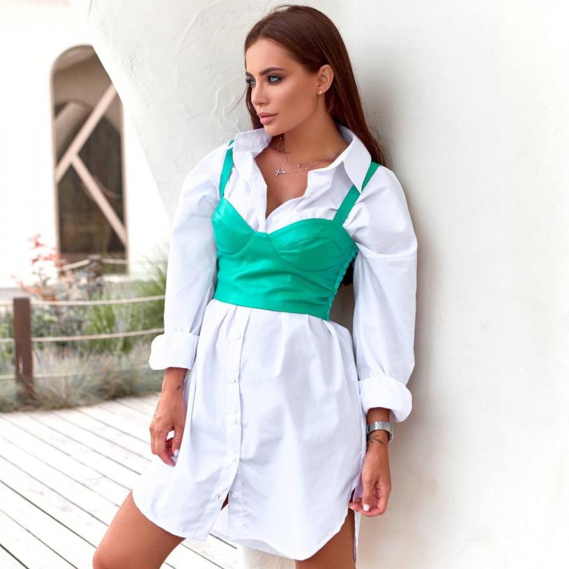 Рубашка - платье с топом из эко - кожи 11842-1