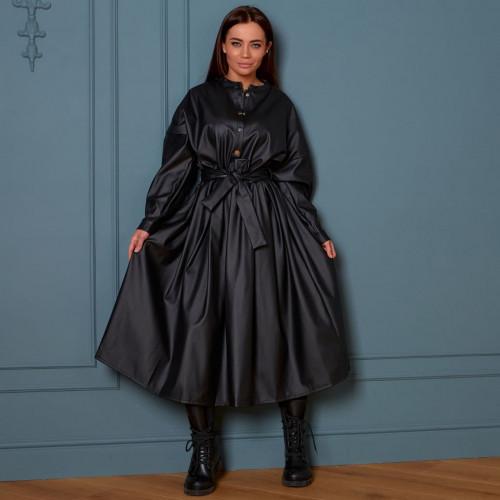 Элегантное кожаное платье с поясом 11488