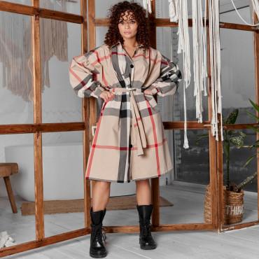 Платье под пояс в стильной расцветке 7225-1