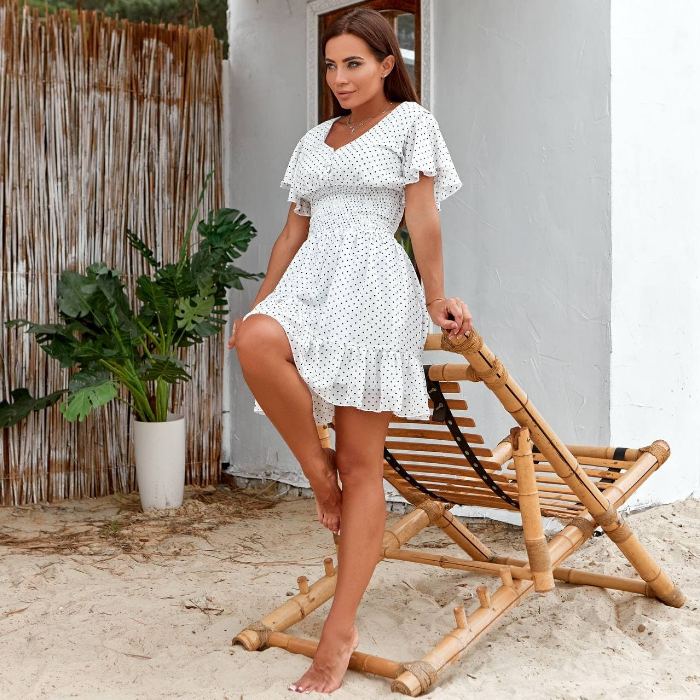 Летнее платье мини в горошек 11822-1