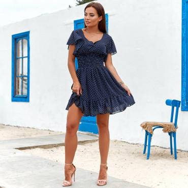 Летнее платье мини в горошек 11822-3