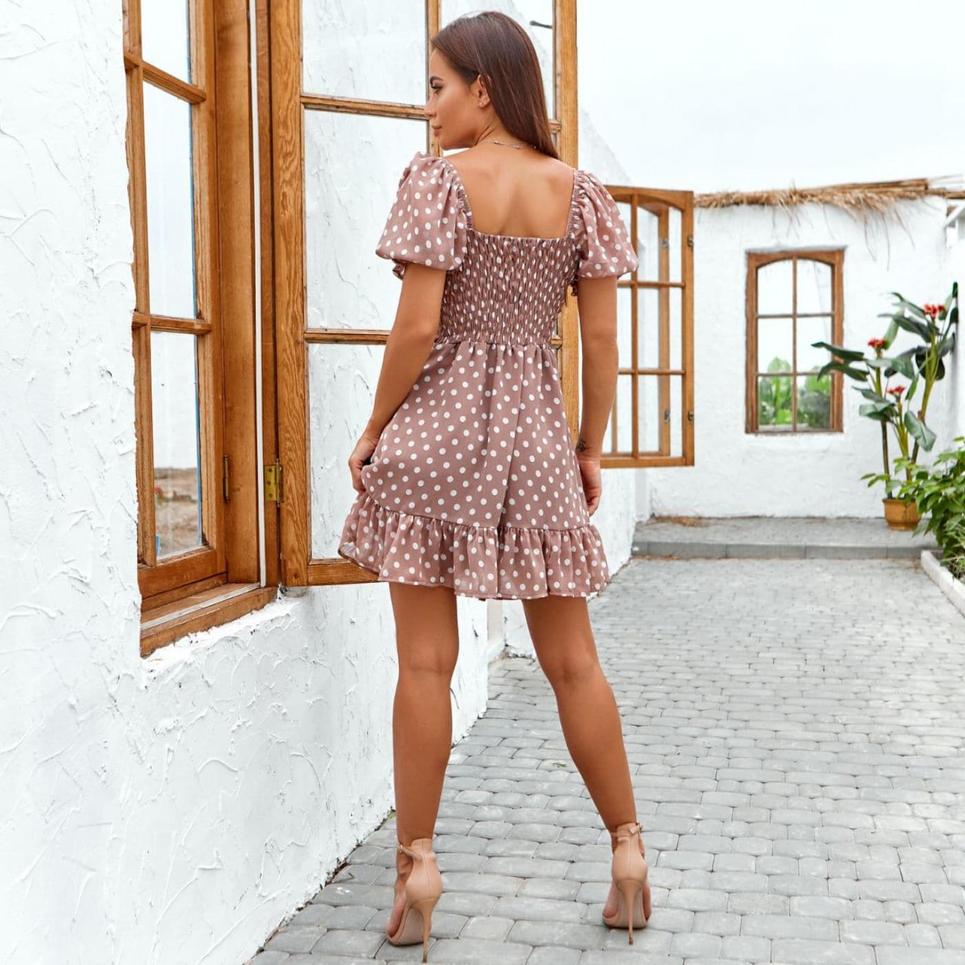 Шифоновое платье в горошек 11818-2