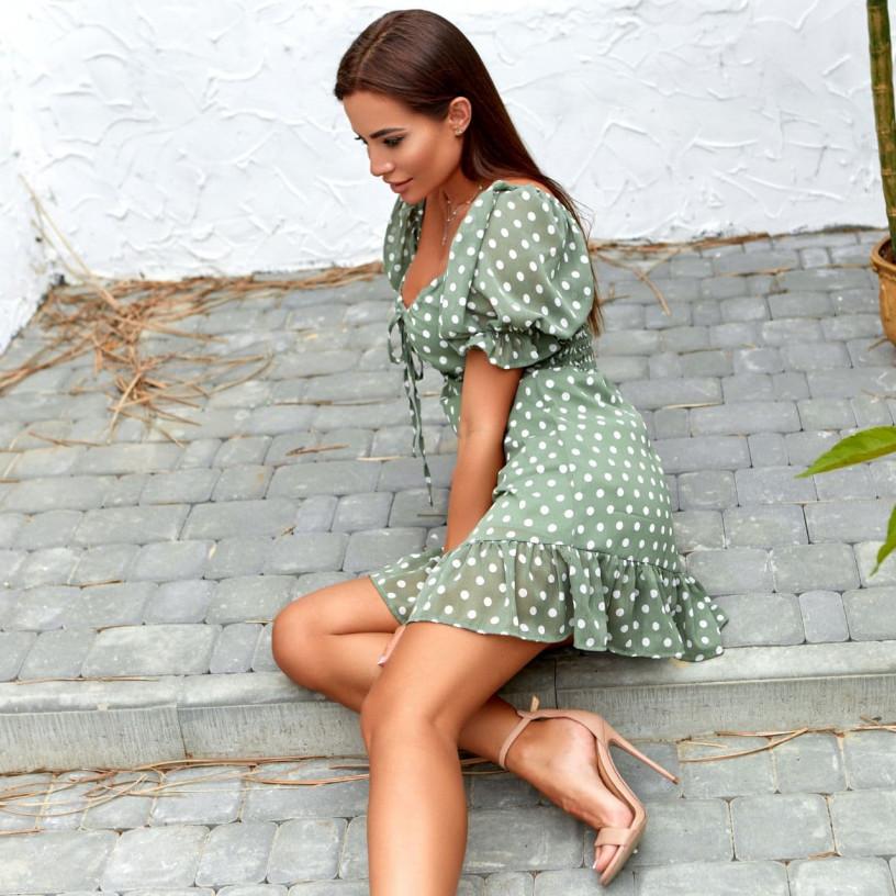 Шифоновое платье в горошек 11818-3