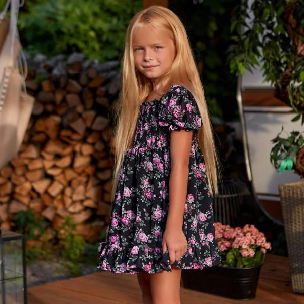 Детское платье с цветочным принтом 11841-6