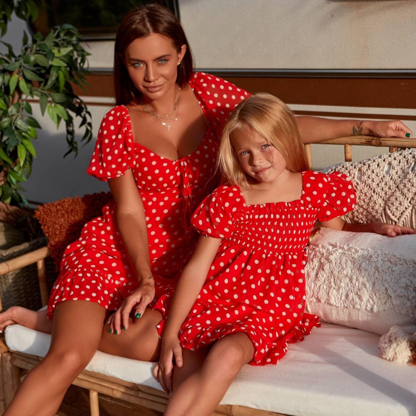 Платье шифоновое в горох Family Look 11841-2