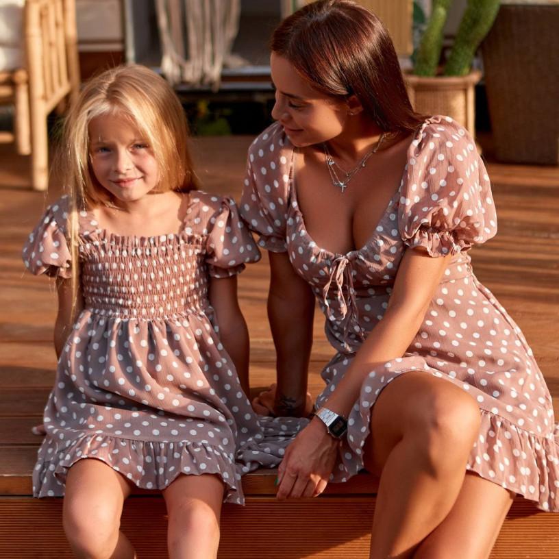 Платье шифоновое в горох Family Look 11841-1
