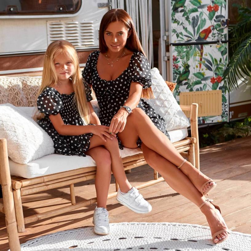 Платье шифоновое в горох Family Look 11841-4