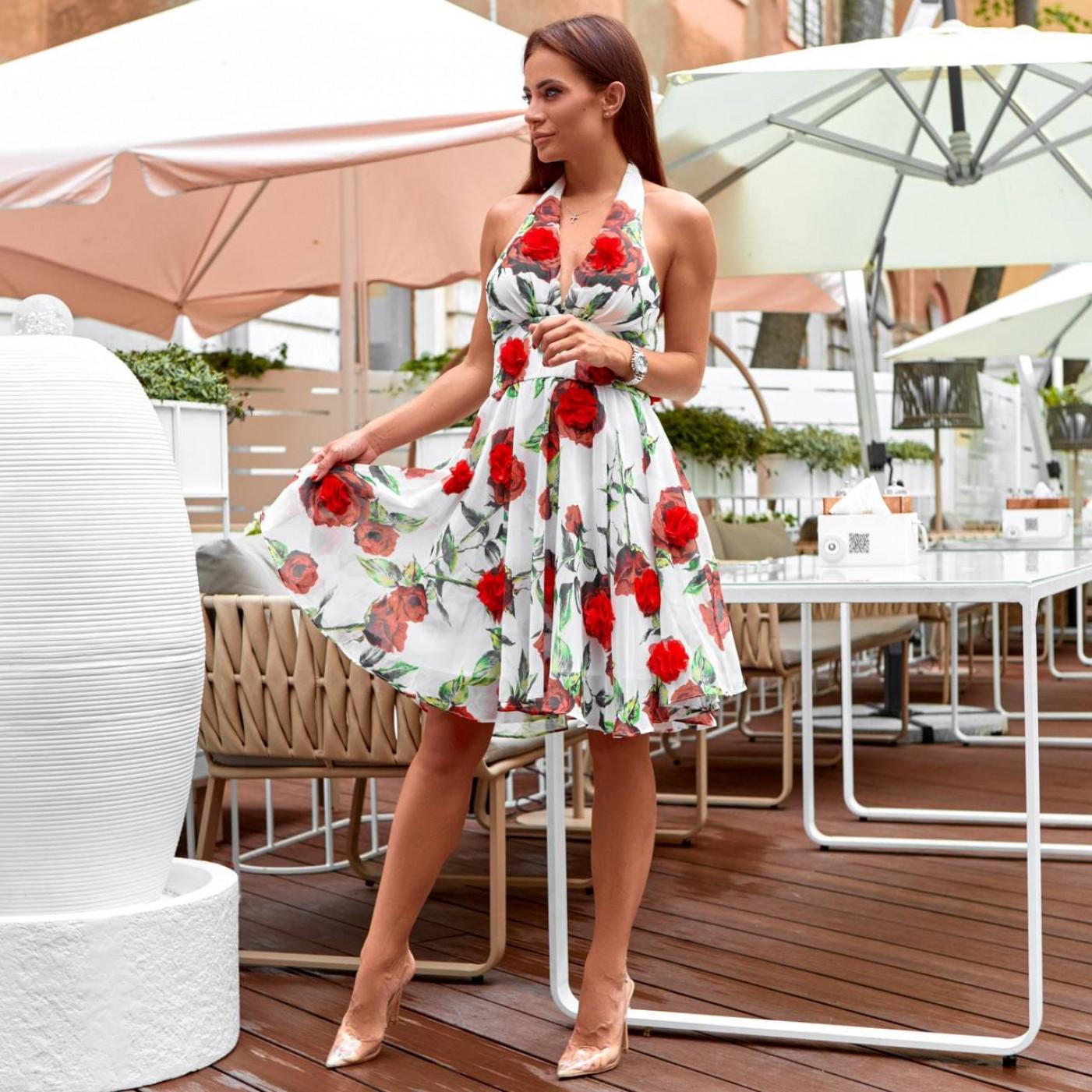 Платье летнее c открытой спиной и розами 50575-1