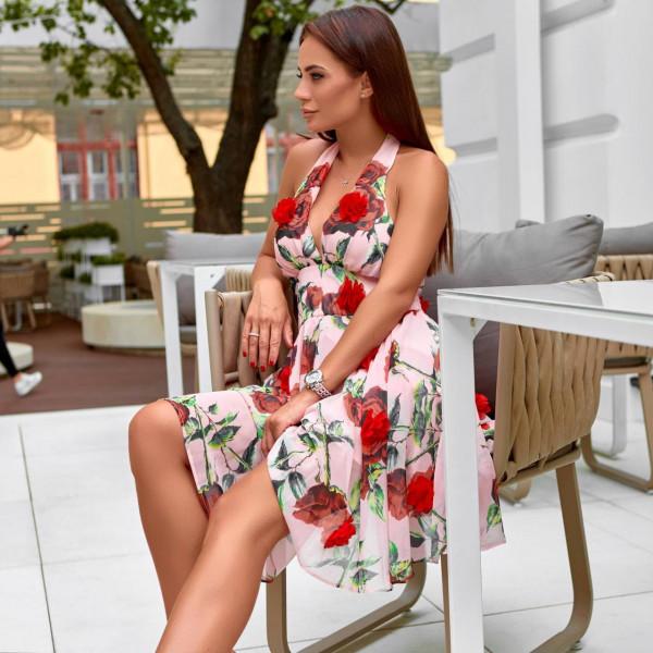 Платье летнее c открытой спиной и розами 50575-3