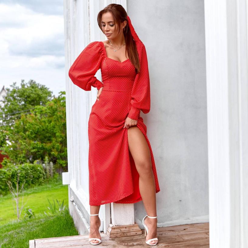 Элегантное платье в горошек 11760-2