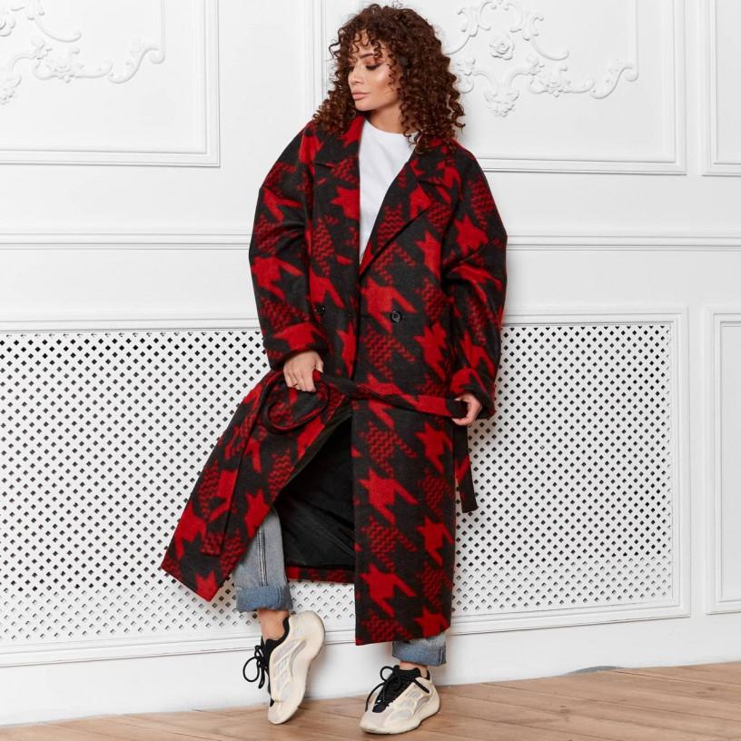 Демисезонное пальто с поясом 11752-1