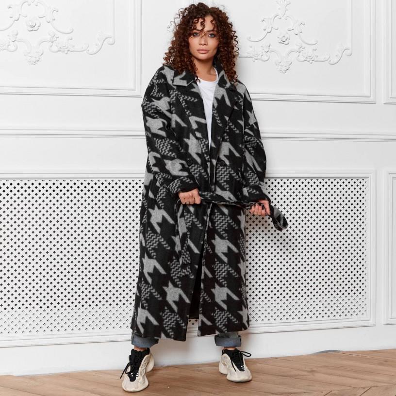 Демисезонное пальто с поясом 11752-2