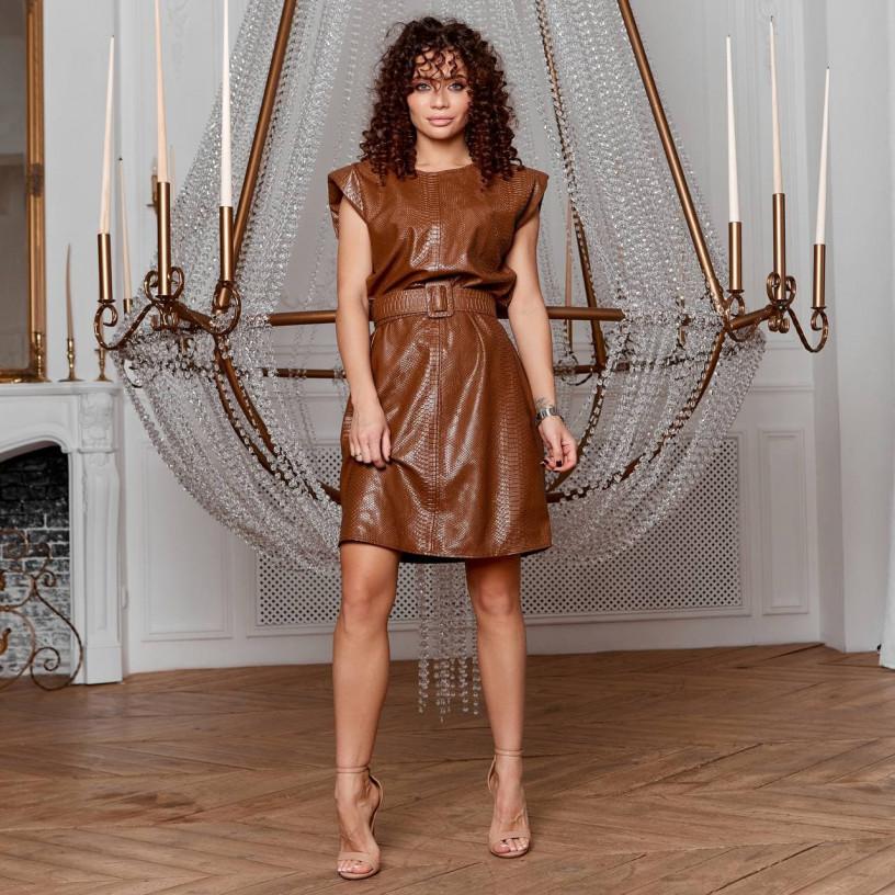 Кожаное платье с широким поясом 3514-1